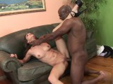 Splendid brunette fucking a black dude